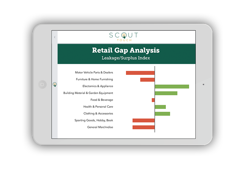 Retail Gap Analysis - city government analytics platform feature