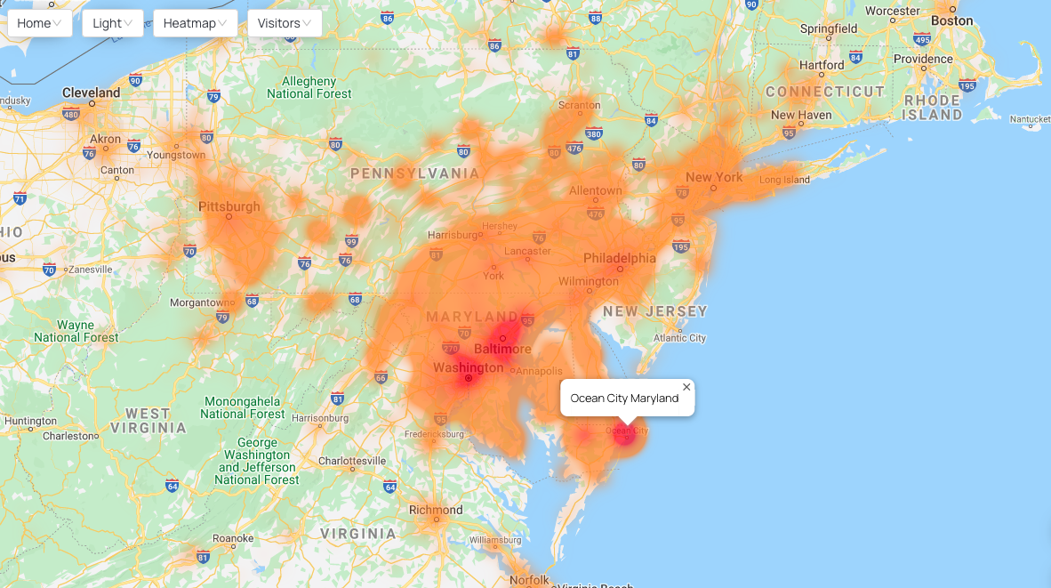Map showing a visitor origin heatmap for Ocean City, Maryland's beach