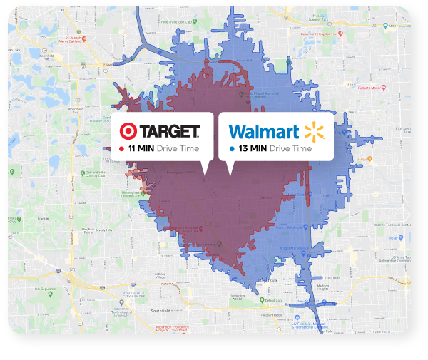 Map showing the drive time trade areas for both Target and Walmart