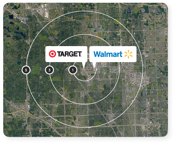 Map showing the one, three, and five-mile radius rings of the Target and Walmart in Troy, Michigan